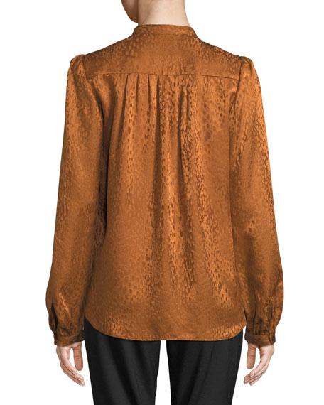 Owens Button-Front Silk Long-Sleeve Top