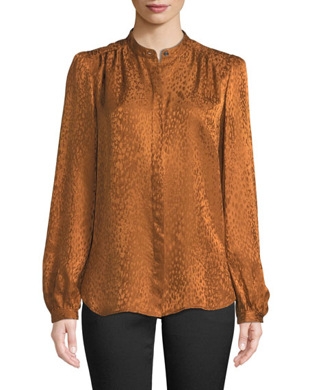 Owens Button-Front Silk Long-Sleeve Top, Brown