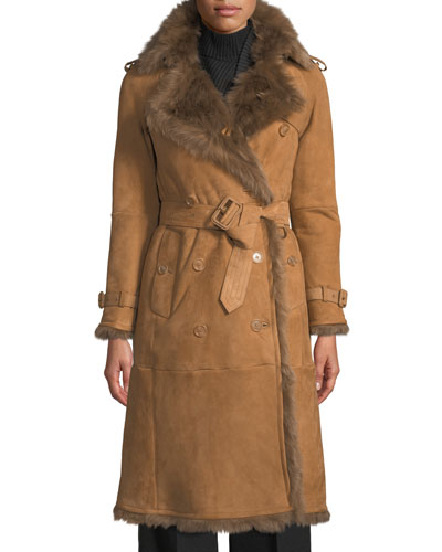 Eastheath Shearling-Trim Suede Trench Coat