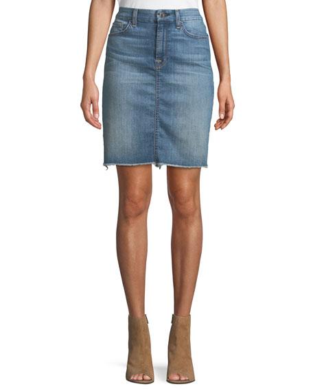 Denim Pencil Skirt w/ Frayed Hem