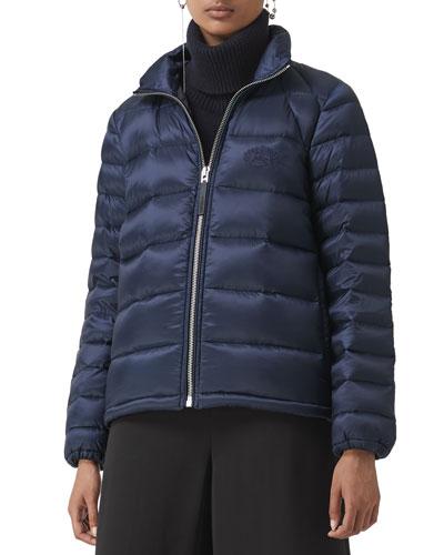 Zip-Front Short Puffer Coat