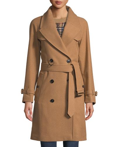 Cranston Wool-Blend Short Trench Coat