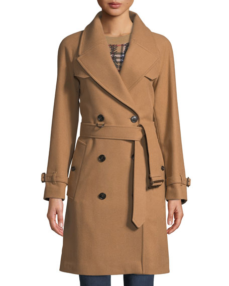 Burberry Cranston Wool-Blend Short Trench Coat | Neiman Marcus