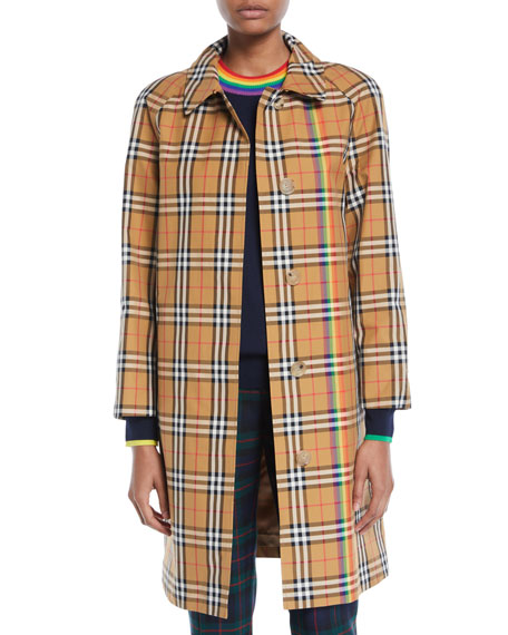 Burberry Clayborne Plaid Car Coat w/ Rainbow Stripe