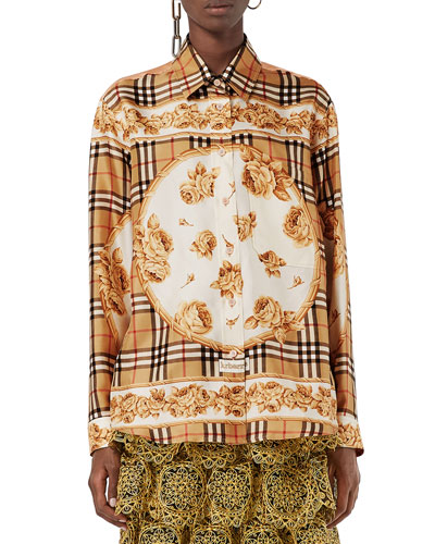 Archive Scarf-Print Silk Shirt