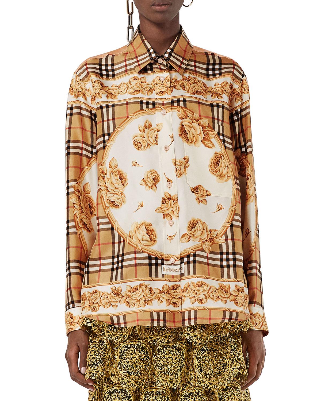 Burberry Archive Scarf Print Silk Shirt Neiman Marcus