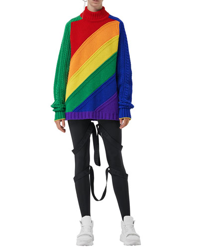 Rainbow Wool-Cashmere Turtleneck Sweater