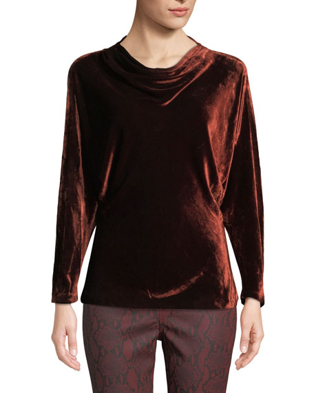 Miller Cowl-Neck Velvet Long-Sleeve Top in Cognac