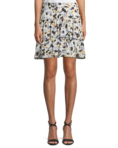 Baxter Printed Tiered Silk Skirt