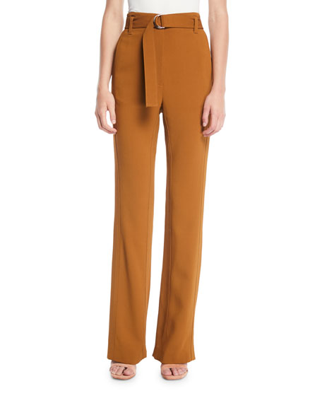 Morgan Belted Straight-Leg Pants