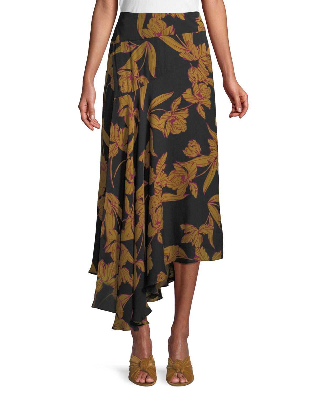 A.L.C. Lev A-Line Floral-Print Silk Midi Skirt  47f49a055cec4