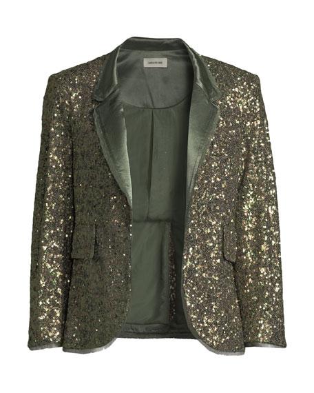 Verys Sequined Open-Front Blazer