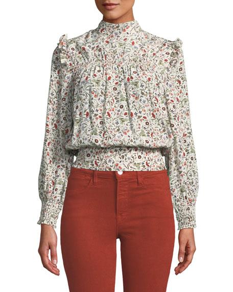 Smocked High-Neck Floral Silk Blouson Top