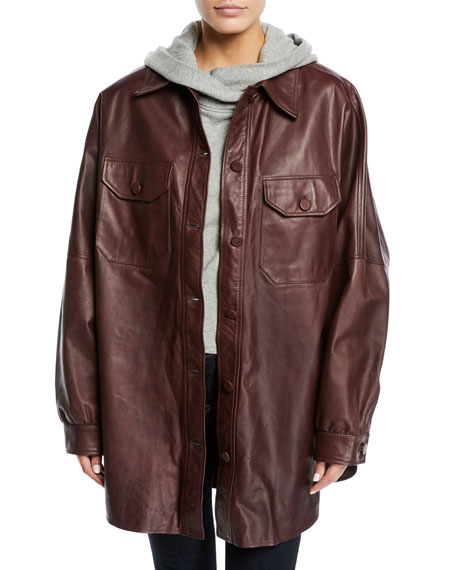 Mercier Button-Front Long-Sleeve Leather Jacket