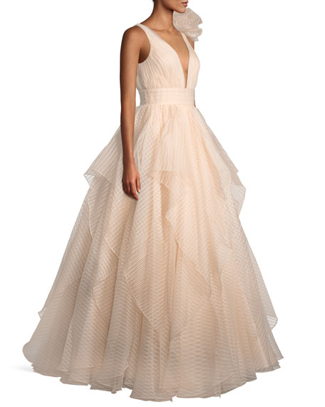 Lace Ball Gown w/ 3D Shoulder Detail