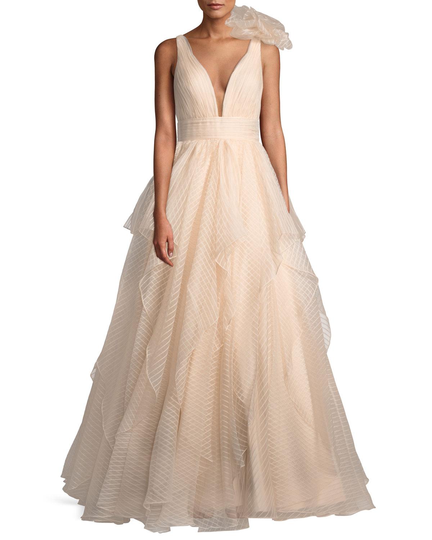 Jovani Lace Ball Gown w/ 3D Shoulder Detail   Neiman Marcus