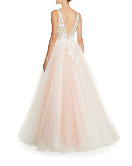 V-Neck Sleeveless Tiered Organza Ball Gown w/ Floral Appliques