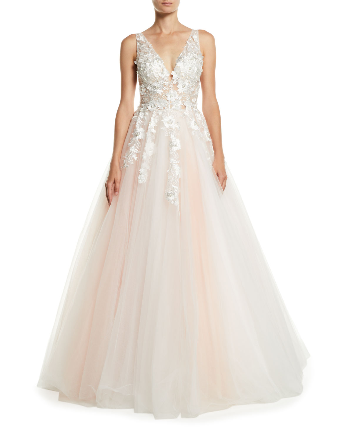 Jovani V-Neck Sleeveless Tiered Organza Ball Gown w/ Floral ...