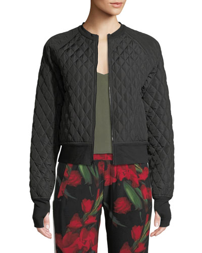 Cropped Quilted Zip-Front Bomber Jacket