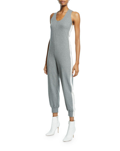 Side-Stripe Cross-Back Jogger Jumpsuit