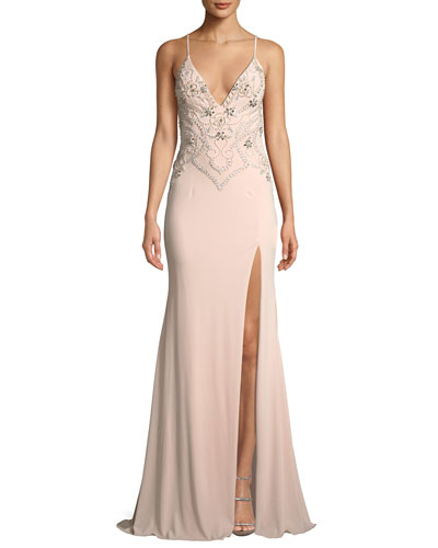 Beaded Plunge-Neck Crepe Gown Dress w/ High Slit