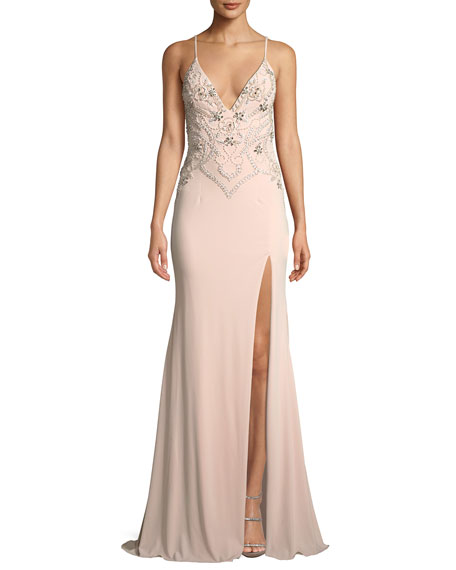 Jovani Beaded Plunge-Neck Crepe Gown Dress w/ High