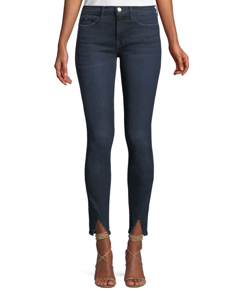FRAME Le Skinny de Jeanne Triangle-Hem Jeans