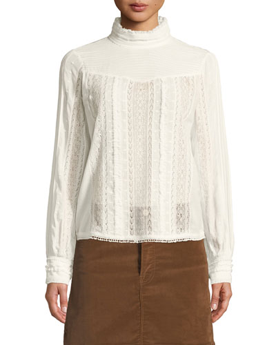 Embroidered Lace High-Neck Blouse