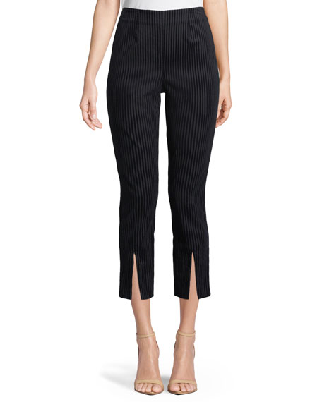 Striped Split-Front Cropped Pants