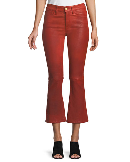 FRAME Le Crop Mini Boot-Cut Leather Pants