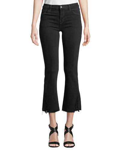Selena Mid-Rise Cropped Lace Boot-Cut Jeans