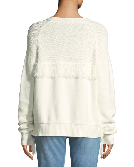 Fringe Cotton Crewneck Sweater