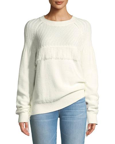 Fringe Cotton Crewneck Sweater