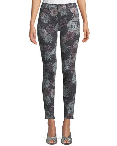620 Floral-Print Mid-Rise Super Skinny Jeans