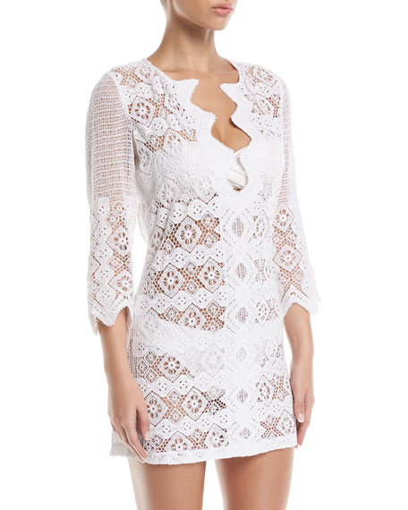 MIGUELINA ELLIOT GEOMETRIC LACE TUNIC COVERUP