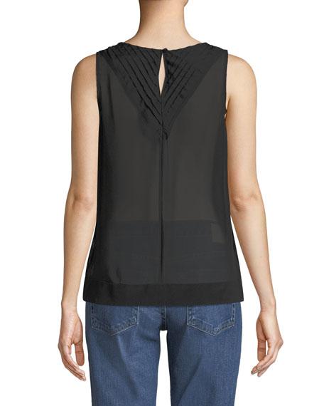 Christina Pleated-Back V-Neck Silk Top