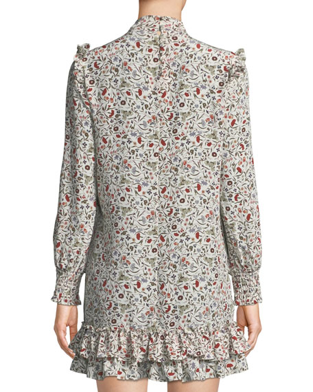 Smocked Floral High-Neck Shift Dress
