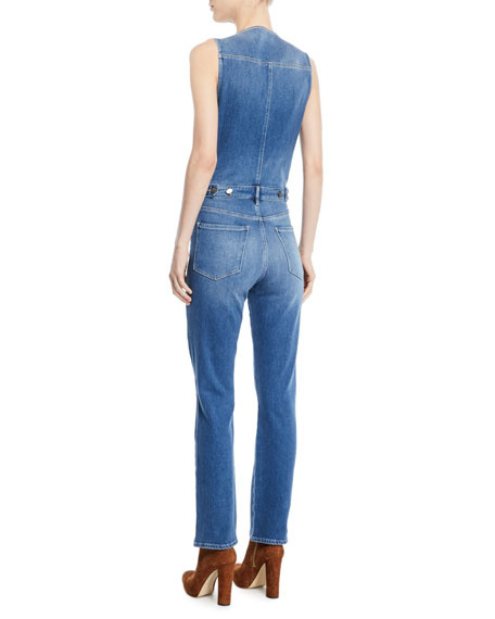 Le Slender Sleeveless Straight-Leg Denim Jumpsuit