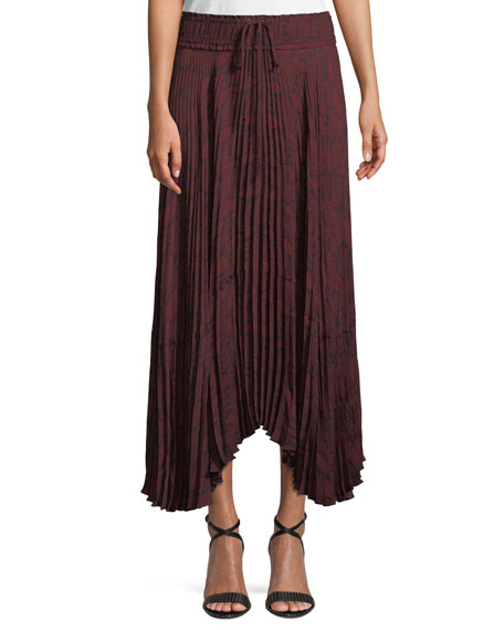 Maya Pleated Snake-Print Maxi Skirt