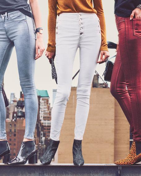 Natasha Sky High Button-Fly Coated Skinny Jeans