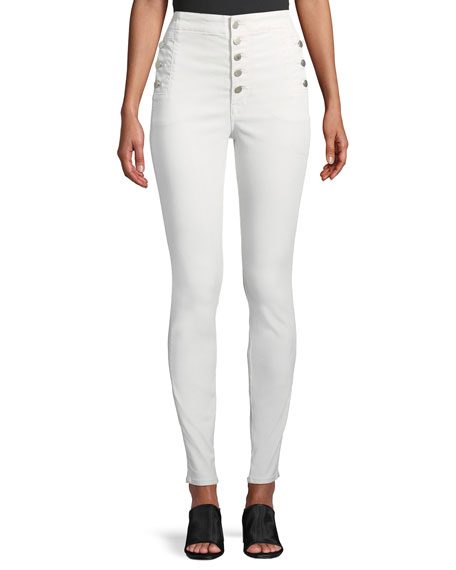J Brand Natasha Sky High Button-Fly Coated Skinny
