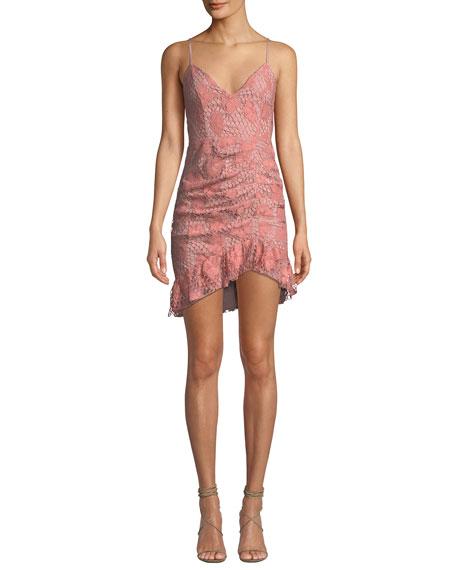 NBD Plumeria Floral Lace Dress W/ Shirring in Pink/Black