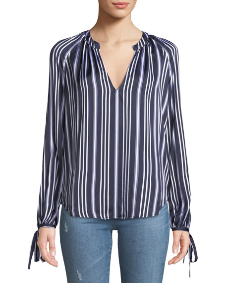 Karina Striped V-Neck Long-Sleeve Top in Dark Cove/ True White