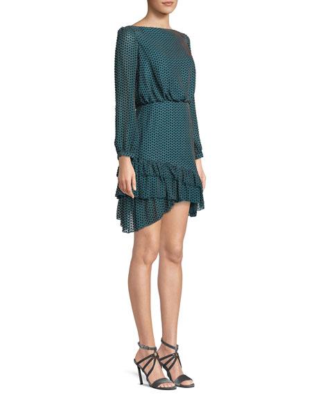 Felicia Geo-Print Ruffle Long-Sleeve Mini Dress