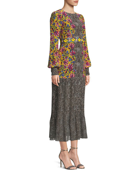 Vera Mixed-Print Flounce Midi Dress