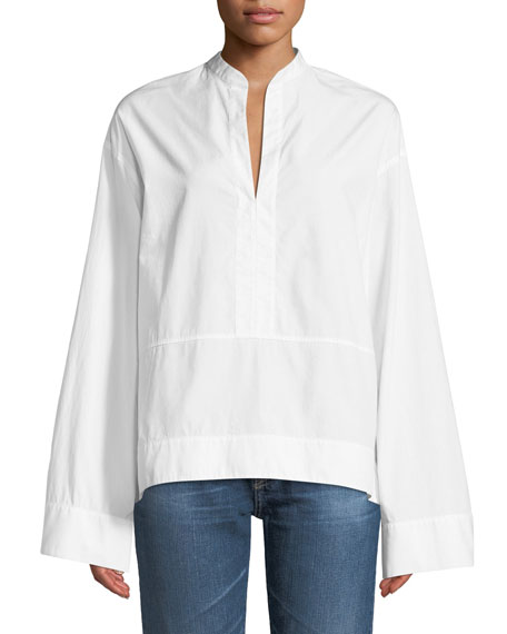 Eden Wide-Sleeve Cotton Tunic Blouse