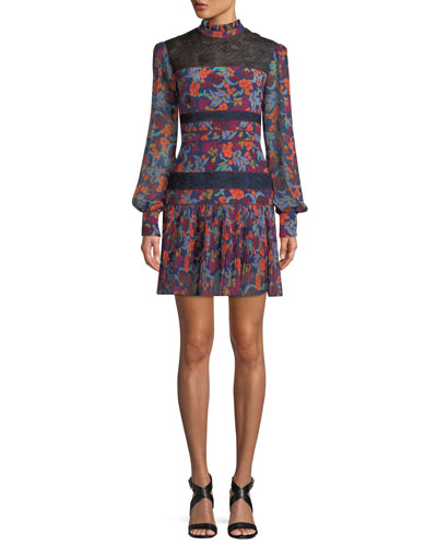 Dina Lace & Silk Long-Sleeve Dress