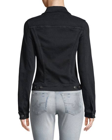Robyn Button-Front Fitted Cropped Denim Jacket