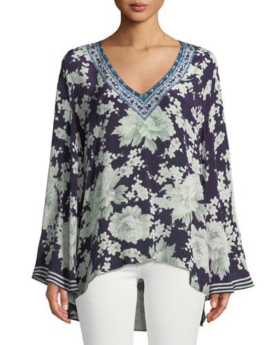 Embellished Floral-Print Silk V-Neck A-Line Blouse