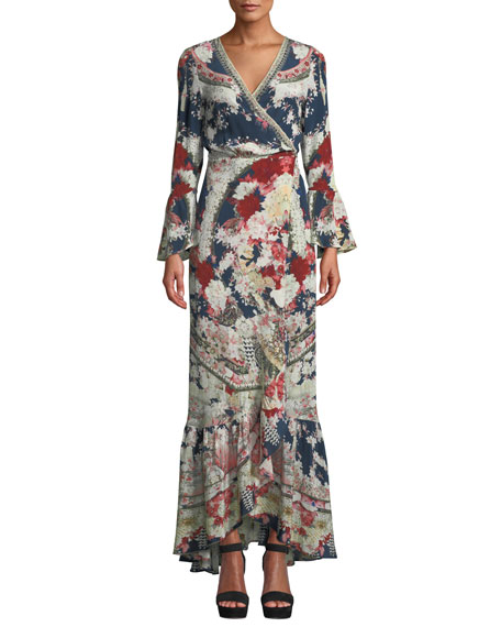 Camilla Twin Shadow Silk Flounce Wrap Dress